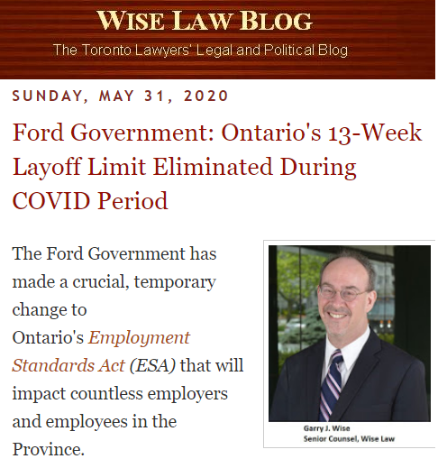 Ontario 13 week layoff period suspended