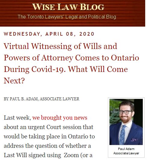 Virtual Witnessing of Wills and Powers of Attorney